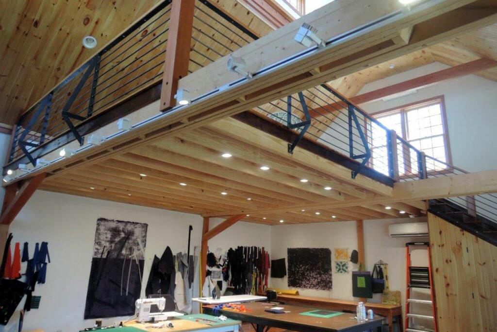 studio, quilting, interior, loft, railing, natural light, stair