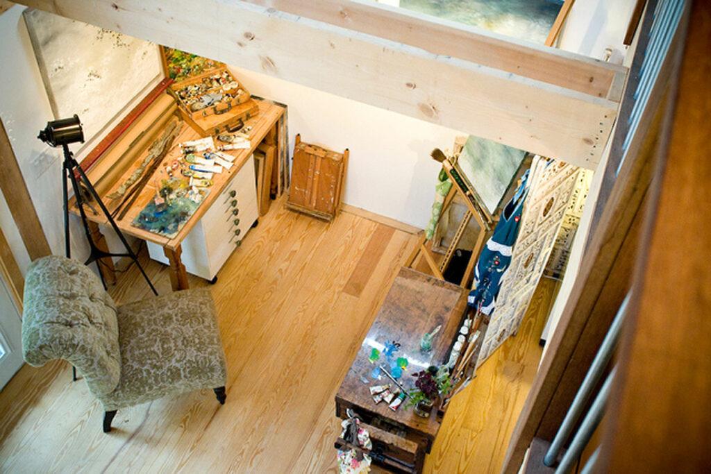 Geobarns, Massachusetts Painting Studio, interior work area, daylight, lighting