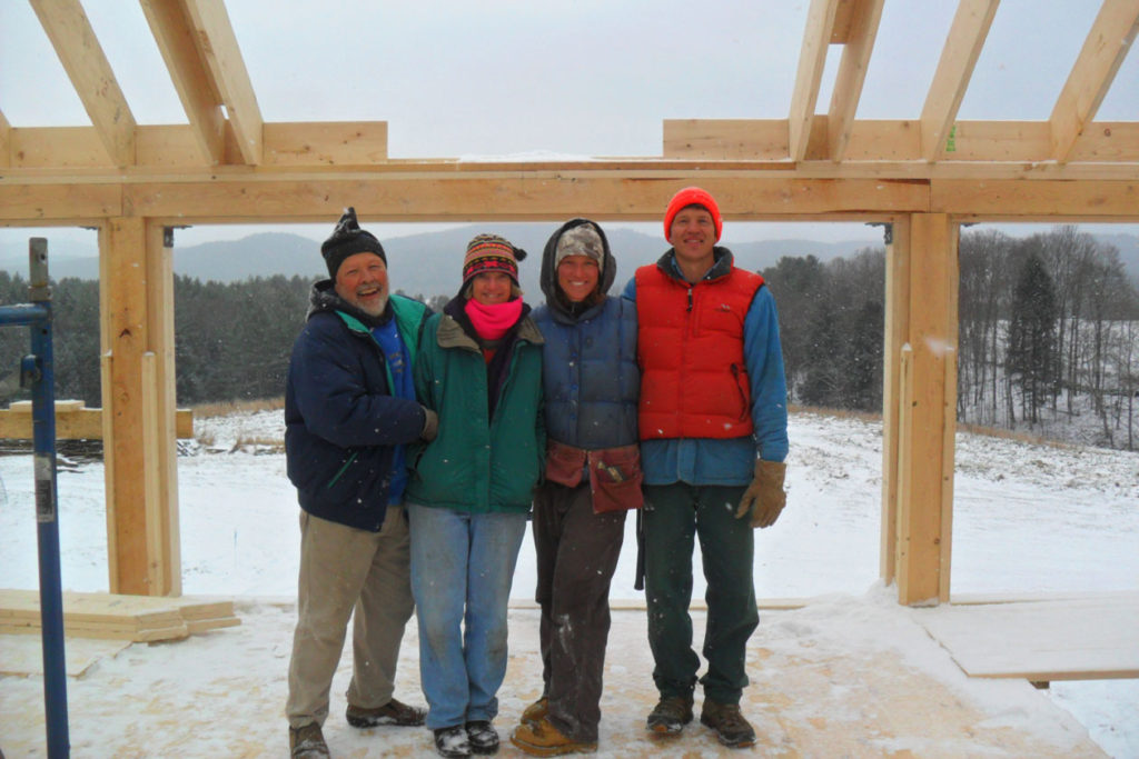 Geobarns, Vermont Artist Pottery Studio Barn, construction team, exterior, snow