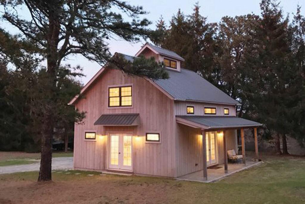 art studio, exterior, barn, porch, french doors