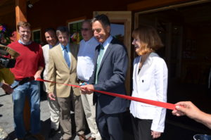The ribbon-cutting ceremony for The Silo Distillery in Windsor, Vermont, built by Geobarns