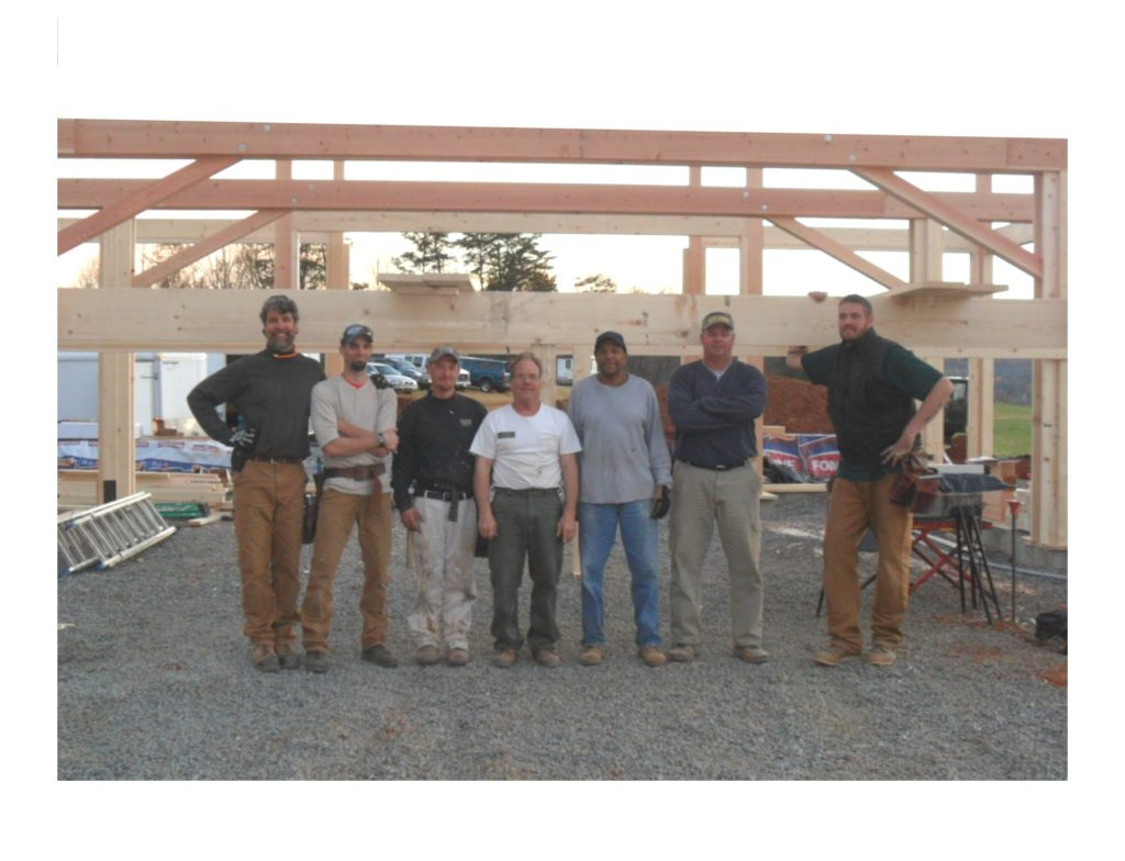 Geobarns founder, George Abetti, and some of the crew at the construction site for Pippin Hill, designed and built by Geobarns