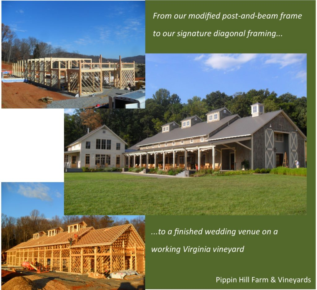 A picture showing construction progression from timber frame, to diagonal framing, to finished wedding barn
