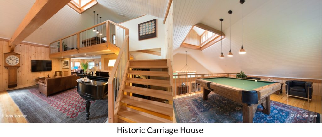 The entertainment room and game loft of a Geobarns Historic Carriage House addition