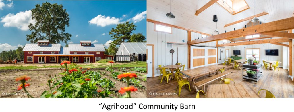The exterior community garden and the community center interior at Chickahominy Falls in Virginia, designed and built by Geobarns