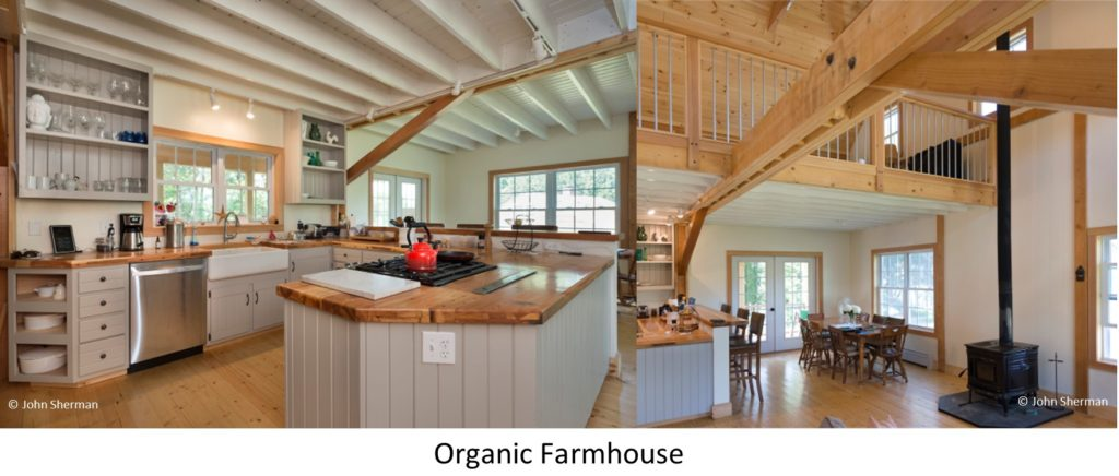 The living room and the kitchen of a Geobarns Organic Farmhouse