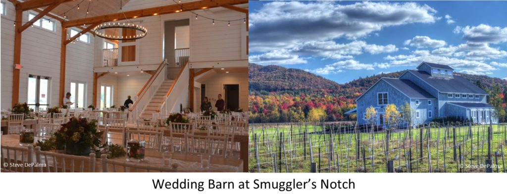 The exterior and the banquet hall at the  wedding Barn at Smuggler's Notch near Stowe, Vermont, designed and built by Geobarns