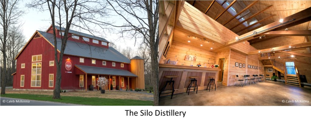 The Interior and the Exterior of The Silo Distillery in Windsor, Vermont, designed and built by Geobarns.