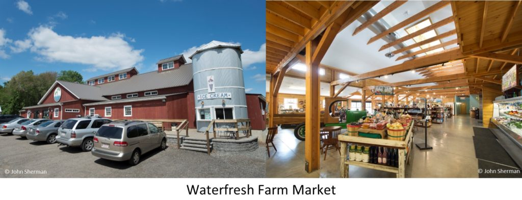 The exterior and the interior of the Waterfresh farm Market in Massachusetts, designed and built by Geobarns