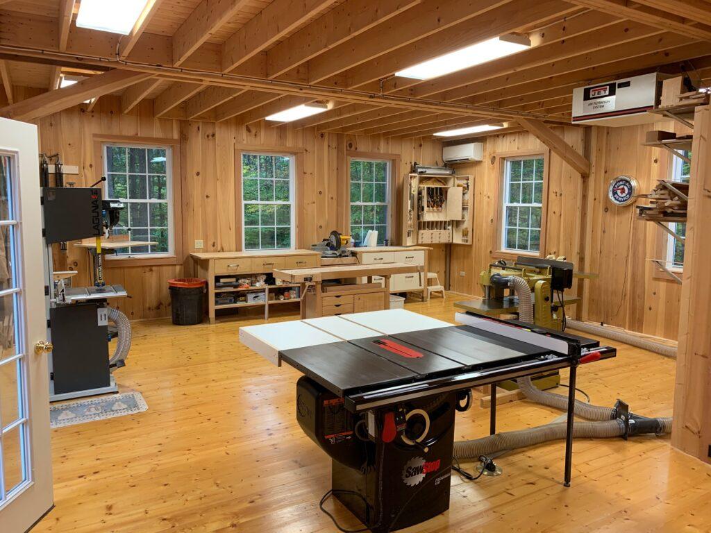 Interior of rustic open woodworking shop